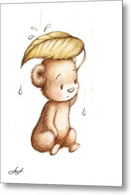 Drawing Of Teddy Bear Hiding From The Rain Under A Big Green Lea Metal Print by Anna Abramska