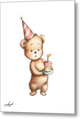 Drawing Of Teddy Bear With Birthday Cake Metal Print by Anna Abramska