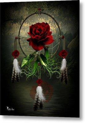 Dream Catcher Rose Metal Print