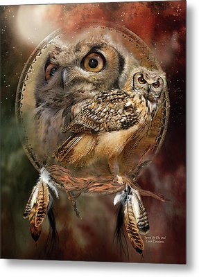 Metal Print featuring the mixed media Dream Catcher - Spirit Of The Owl by Carol Cavalaris