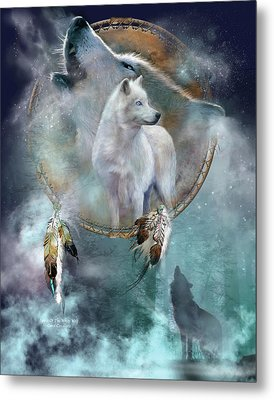 Dream Catcher - Spirit Of The White Wolf Metal Print
