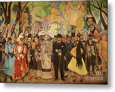 Dream In The Alameda Diego Rivera Mexico City Metal Print by John  Mitchell