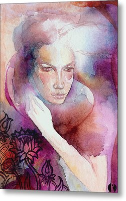 Metal Print featuring the painting Dream Lotus by Ragen Mendenhall