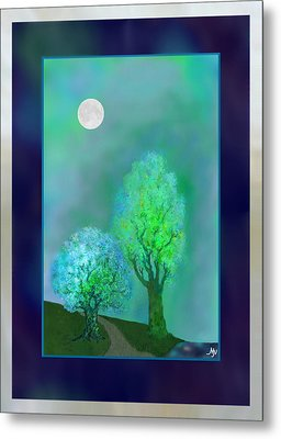 Dream Trees At Twilight With Borders Metal Print by Mathilde Vhargon