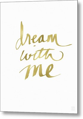 Dream With Me Gold- Art By Linda Woods Metal Print by Linda Woods