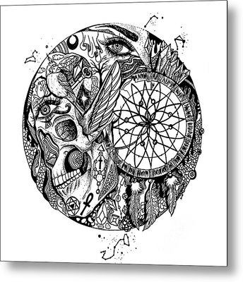 Dreamcatcher Circle Drawing No. 1 Metal Print by Kenal Louis
