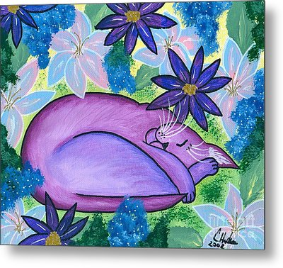 Metal Print featuring the painting Dreaming Sleeping Purple Cat by Carrie Hawks