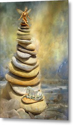 Metal Print featuring the mixed media Dreaming Stones by Carol Cavalaris