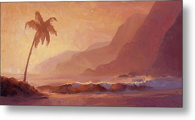 Metal Print featuring the painting Dreams Of Hawaii - Tropical Beach Sunset Paradise Landscape Painting by Karen Whitworth