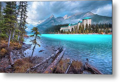 Dreamy Chateau Lake Louise Metal Print by John Poon