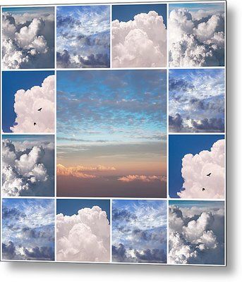 Metal Print featuring the photograph Dreamy Clouds Collage by Jenny Rainbow