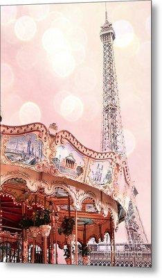 Dreamy Eiffel Tower Carousel Merry Go Round - Paris Baby Girl Nursery Decor  Metal Print