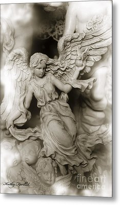 Dreamy Ethereal Angel Wings With Cherubs Metal Print