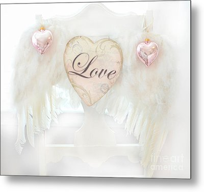 Dreamy Ethereal White Angel Wings Romantic Love Heart - Valentine Love Heart Pink White Angel Wings  Metal Print by Kathy Fornal