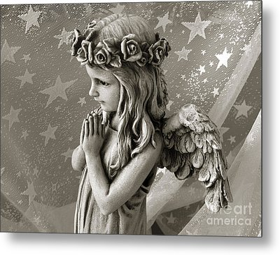 Dreamy Little Girl Angel With Praying Hands  Metal Print by Kathy Fornal