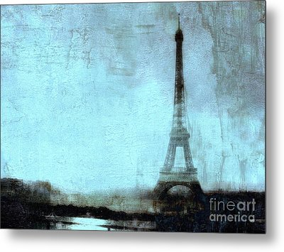 Dreamy Paris Eiffel Tower Aqua Teal Sky Blue Abstract  Metal Print