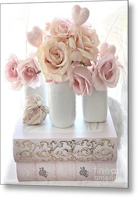 Dreamy Pastel Shabby Chic Peach And Pink White Roses - Cottage Shabby Chic Roses White Mason Jars  Metal Print