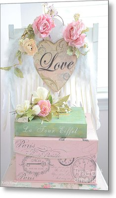 Dreamy Shabby Chic Pink Roses Heart - Paris Books Love Heart Valentine Print Metal Print by Kathy Fornal