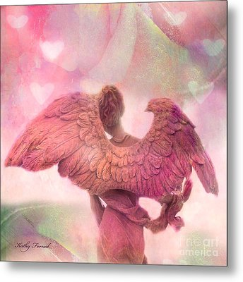 Dreamy Whimsical Pink Angel Wings With Hearts Metal Print by Kathy Fornal