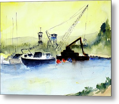Dredging At Marin Yacht Club Metal Print