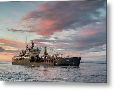 Metal Print featuring the photograph Dredging Ship by Greg Nyquist
