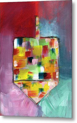 Dreidel Of Many Colors- Art By Linda Woods Metal Print