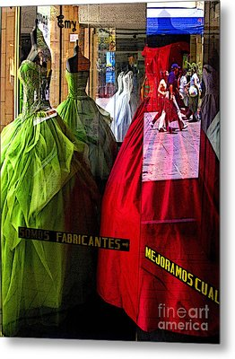 Dress Shop Passerbys Metal Print by Mexicolors Art Photography