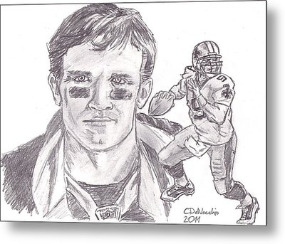 Metal Print featuring the drawing Drew Brees by Chris  DelVecchio