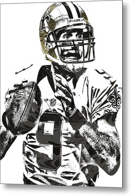Drew Brees New Orleans Saints Pixel Art 1 Metal Print