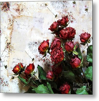 Dried Flowers Against Wallpaper Metal Print by Marsha Heiken