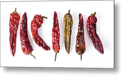 Dried Peppers Lined Up Metal Print