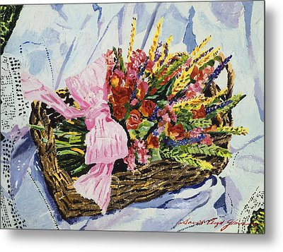 Dried Rose Basket On Lace Metal Print by David Lloyd Glover
