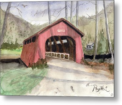Drift Creek Covered Bridge Watercolor Metal Print by Chriss Pagani