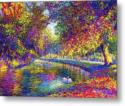 Drifting Beauties, Swans, Colorful Modern Impressionism Metal Print by Jane Small