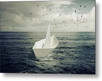 Metal Print featuring the photograph Drifting Paper Boat by Carlos Caetano