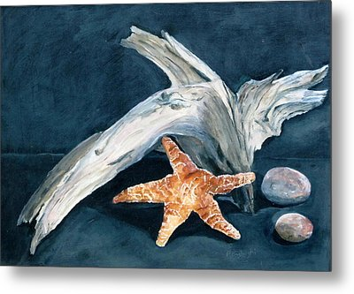 Driftwood And Starfish Metal Print