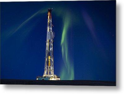 Drilling Rig Saskatchewan Metal Print by Mark Duffy