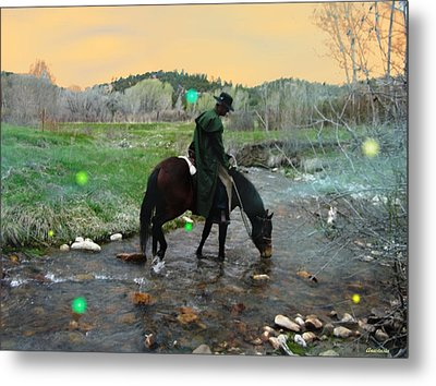 Drinking In The River Horseman Lit By Fireflies Metal Print