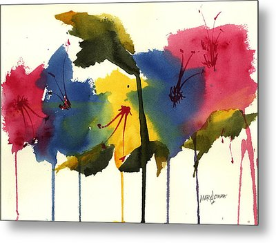 Drippy Flowers Metal Print by Mary Lomma