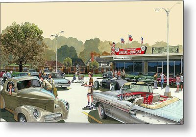 Metal Print featuring the painting Drive In Days by Michael Swanson