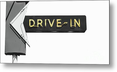 Drive-in Retro Sign Metal Print by Mindy Sommers