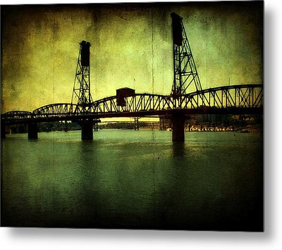 Driving Over The Bridge Metal Print by Cathie Tyler