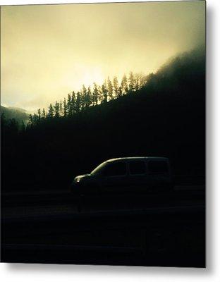 Driving Through The Fog Metal Print