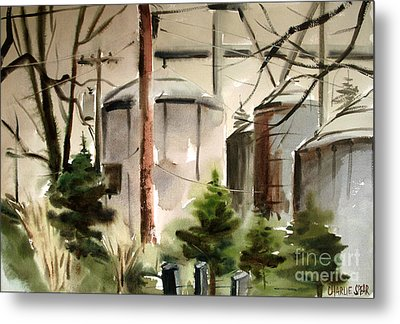 Metal Print featuring the painting Drizzle Mists Midst Furry Pines Plein Air by Charlie Spear