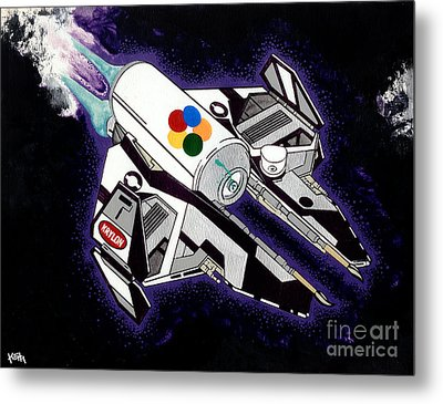 Drobot Space Fighter Metal Print by Turtle Caps