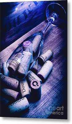 Dropped Champagne Flute With Wine Corks Metal Print by Jorgo Photography - Wall Art Gallery