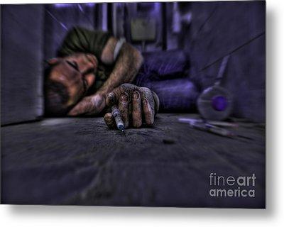 Drug Addict Shooting Up Metal Print by Guy Viner