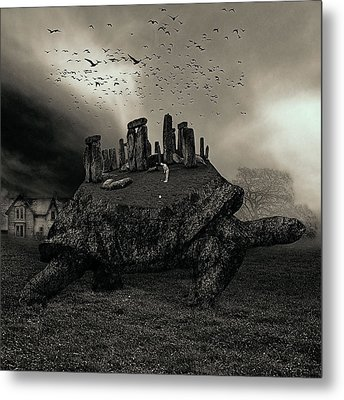 Druid Golf Black And White Metal Print