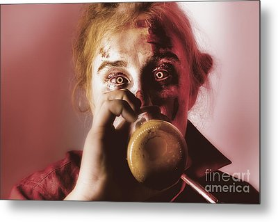Drunk Ghoul Sculling Beer At Halloween Party Metal Print