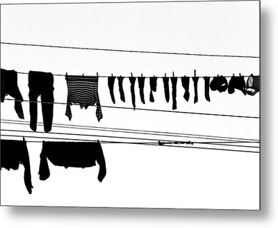 Drying Laundry On Two Clothesline Metal Print by Massimo Strazzeri Photography